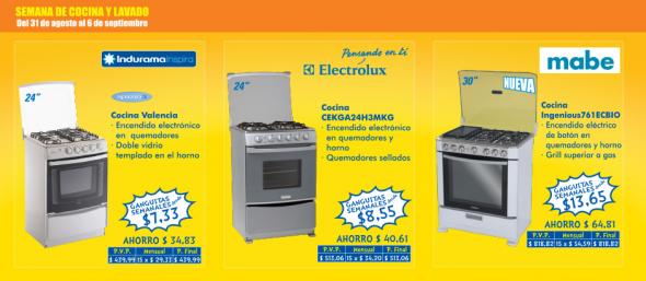 Cocinas indurama mabe y electrolux for Precio electrodomesticos cocina